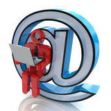 Personen läste emails eller att surfa i internet vektor illustrationer