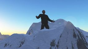 Personen på bergöverkanten Royaltyfria Foton