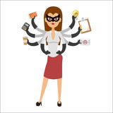 Personen-Schattenbildführer des SuperheldGeschäftsfrau-Charaktervektorillustrationserfolgskarikaturmachtkonzeptes starker Stockfoto