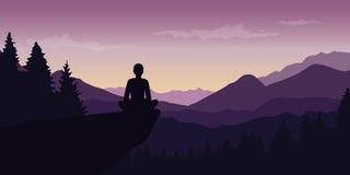 Personen tycker om tystnaden på naturlandskapet för det purpurfärgade berget vektor illustrationer