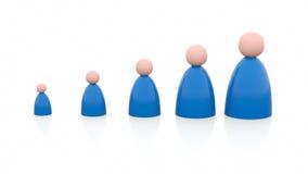 5 personen van verschillende grootte vector illustratie
