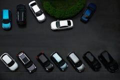 Personenauto's in de werf, hoogste mening Stock Foto