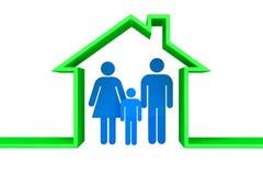 Personenfamilie in een 3D hous Royalty-vrije Stock Afbeelding