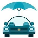 Personenkraftwagen unter einem Regenschirm stock abbildung