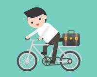 Personenvervoer een fiets met aktentas, vlak ontwerp royalty-vrije illustratie
