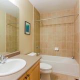 2 personer för mosaik för blå idérik för design för badrum för bad som 3d tom inre spegel för lampa moderna framför hyllor, sink  Arkivbild