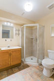 2 personer för mosaik för blå idérik för design för badrum för bad som 3d tom inre spegel för lampa moderna framför hyllor, sink  Arkivbilder