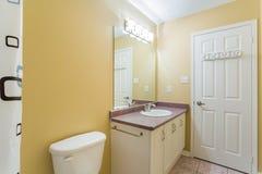 2 personer för mosaik för blå idérik för design för badrum för bad som 3d tom inre spegel för lampa moderna framför hyllor, sink  Arkivfoto