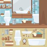 2 personer för mosaik för blå idérik för design för badrum för bad som 3d tom inre spegel för lampa moderna framför hyllor, sink  stock illustrationer