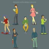 Personer med mobila enheter Stock Illustrationer