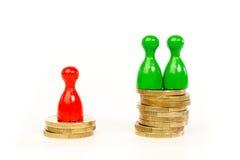 Personer med skillnader i inkomst arkivbild