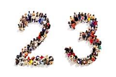 Personer som bildar formen som en 3d nummer två (2) och (3) symbol tre på en vit bakgrund Arkivbilder