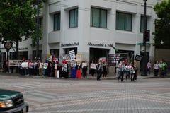 Personer som protesterar för Palestina som grälar Israel Royaltyfri Foto