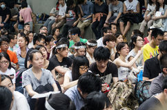 Personer som protesterar om nordostliga nya territorier Hong Kong Arkivfoto