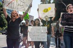 Personer som protesterar som samlas i gatorna mot korruption Arkivfoto