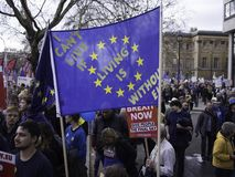 Personer som protesterar under den anti-Brexit demonstrationen, London, mars 2019 royaltyfria bilder