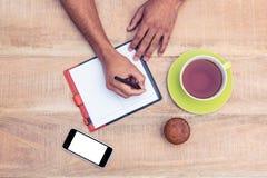 Personhandstil på dagboken arkivfoton