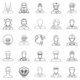 Personification icons set, outline style. Personification icons set. Outline set of 25 personification vector icons for web isolated on white background Royalty Free Stock Image