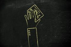 Personinnehav eller räckakreditkort, plan illustration Arkivbilder