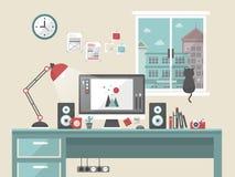Personlig arbetsplatsplats i plan design royaltyfri illustrationer