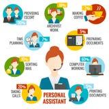 Personlig assistent Infographics stock illustrationer