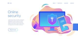 Personlig datasäkerhet i idérik plan vektorillustration Online-dator eller mobilt skyddssystembegrepp Säker inloggning eller royaltyfri illustrationer