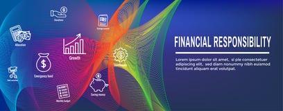 Personlig finans & ansvarsymbolsuppsättning - rengöringsduktitelradbaner royaltyfri illustrationer
