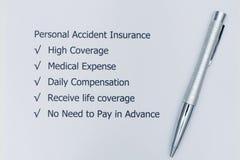 Personlig olycksfallsförsäkring royaltyfri bild