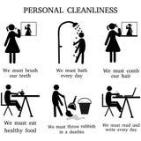 Personlig renlighet för kontur och att borsta och att bada och att kamma och att äta, lokalvård som läser vektor illustrationer