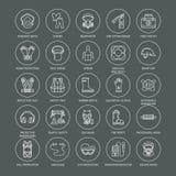 Personlig skyddsutrustninglinje symboler Gasmasken cirkelbojet, respiratorn, bulalocket, öra pluggar och säkerhetsarbetsplagget