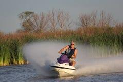 Personlig Watercraftgyckel på den vita gyttjafloden, Manitoba Royaltyfria Foton
