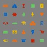 Personliga finansiella färgsymboler på grå bakgrund Arkivfoton