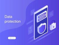 Personligt dataskydd för begrepp, rengöringsdukbaner Cybersäkerhet och avskildhet Trafikkryptering, VPN, Antivirus för avskildhet royaltyfri illustrationer