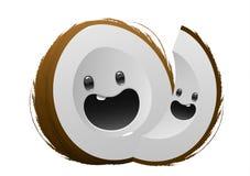 Personnage de dessin animé brun heureux de fruit de noix de coco Photos libres de droits
