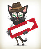 Personnage de dessin animé Cat Holding Arrow Sign Photo libre de droits