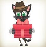 Personnage de dessin animé Cat Holding Gift Box Photo stock