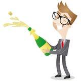 Personnage de dessin animé : Champagne d'ouverture d'homme d'affaires Photographie stock libre de droits