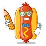 Personnage de dessin animé de chien de With Pencil Hot d'étudiant Photos stock