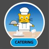 Personnage de dessin animé - cookr de chat avec un plateau étendu à travers la table, Photos libres de droits