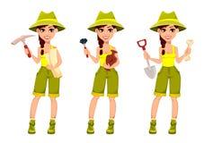 Personnage de dessin animé de Cute d'archéologue de femme illustration de vecteur