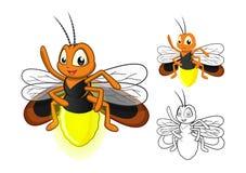 Personnage de dessin animé détaillé de luciole avec la conception et la ligne plate Art Black et la version blanche Image libre de droits