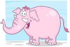 Personnage de dessin animé d'éléphant rose Images libres de droits