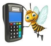 Personnage de dessin animé d'abeille avec la machine d'échange Photographie stock