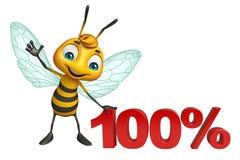 personnage de dessin animé d'abeille d'amusement avec le signe de 100% Image libre de droits