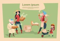 Personnage de dessin animé d'agriculture de pain de Country Woman Cooking d'agriculteur illustration libre de droits