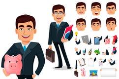 Personnage de dessin animé d'homme d'affaires dans le costume formel illustration de vecteur