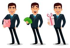 Personnage de dessin animé d'homme d'affaires dans le costume formel illustration stock