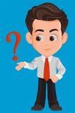Personnage de dessin animé d'homme d'affaires Le jeune homme d'affaires mignon dans des vêtements de bureau ayant une question ou Photo libre de droits