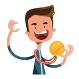 Personnage de dessin animé d'illustration de gagnant de joie de médaille d'or Photo libre de droits