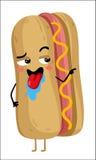 Personnage de dessin animé d'isolement drôle de hot-dog Photographie stock libre de droits